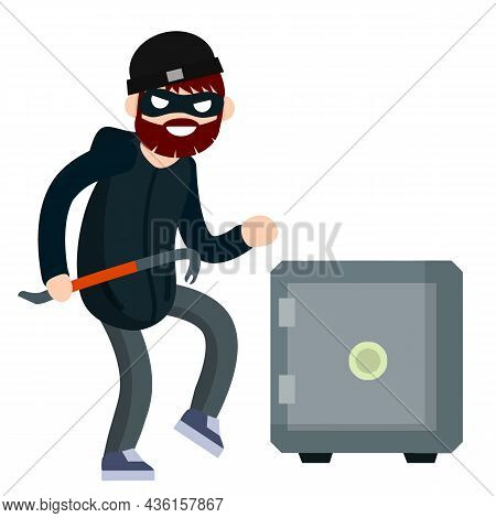 Man Thief With Crowbar And Bank Safe. Breaking And Stealing Money. Criminal Problem. Male Offender S