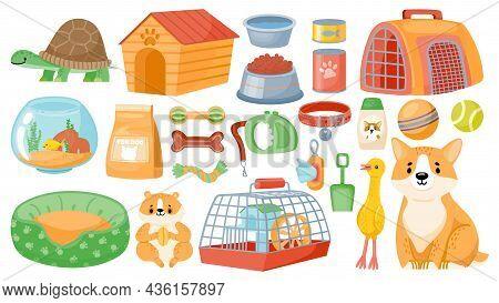 Cartoon Pet Food, Accessories, Care Items, Toys And Treats. Animal Shop Supplies, Collar, Dog Groomi