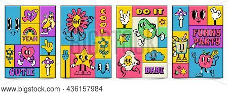 Mosaic Trendy Posters With Funny Crazy Cartoon Characters. Complementary Doodle Covers With Retro Co