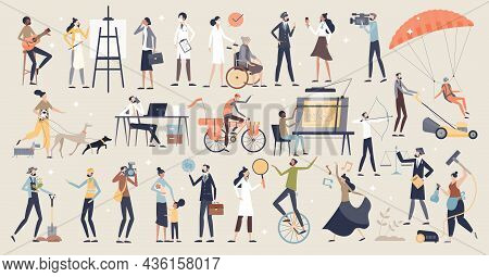 Occupations And Professional Work And Job Choice Items Tiny Person Concept. Various Employees From M