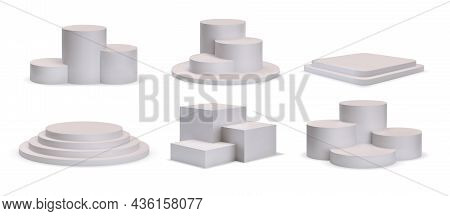 3d White Square And Round Podium Platforms For Product Showroom. Realistic Stage With Steps, Winner