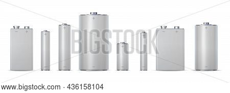 3d Metallic Electric Cylinder Batteries, Aa, Aaa And Aaaa. Alkaline Chemical Charge Cell 9v, Dc. Rea