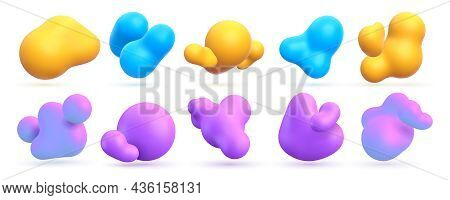 Abstract Liquid 3d Shapes, Floating Paint Drops With Gradient. Realistic Bright Molecular Or Fluid E