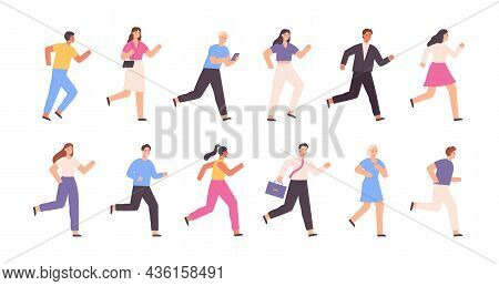 Flat Running People, Business Man, Woman, Jogging Characters. Outdoor Sport Activity. Success Compet