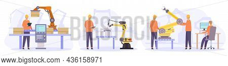 Engineers Control, Check And Repair Automated Robot Arms. Flat Smart Factory Inspection. Manufacturi