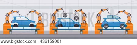 Industry Robot Arm Assemble Cars On Conveyor Belt. Automobile Factory Automated Manufacture. Flat Ma