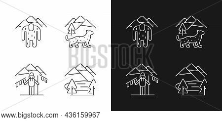 Mountaineering In Nepal Linear Icons Set For Dark And Light Mode. Trekking Peaks. Himalayan Folklore