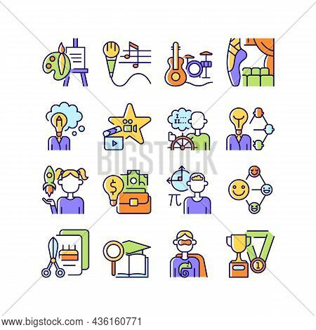 Talents And Aptitudes Rgb Color Icons Set. Skills And Intelligence. Creative And Professional Abilit