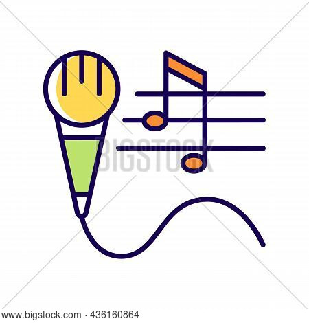 Talent For Singing Rgb Color Icon. Vocal Lessons And Training. Performing Song And Music. Talented S