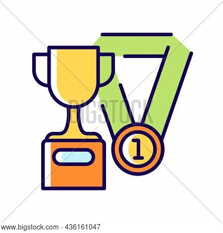 Sports Talent Rgb Color Icon. Athletic Aptitude. Talented Sportsman. Sports Competition Award And Tr