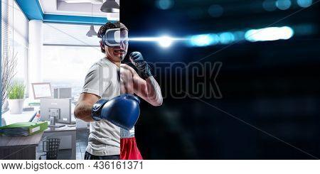 Young man boxing. . Mixed media