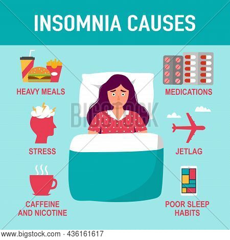 Insomnia Causes Factors Infographic Vector Illustration. Sleep Problem. Sleeplessness.