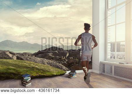 Man in sportwear running . Mixed media