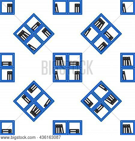 Line Shelf With Books Icon Isolated Seamless Pattern On White Background. Shelves Sign. Colorful Out