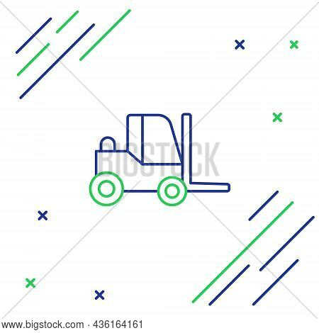 Line Forklift Truck Icon Isolated On White Background. Fork Loader And Cardboard Box. Cargo Delivery