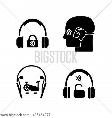 Wireless Headphones Black Glyph Icons Set On White Space. Professional On Ear Headset. In Ear Earpho