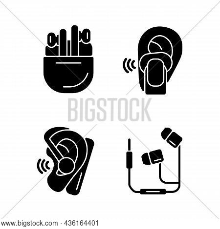 Compact In Ear Earphones Black Glyph Icons Set On White Space. Small Earpieces For Listening Music A