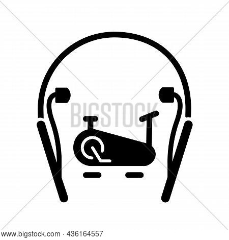 In Ear Neckband Headphones Black Glyph Icon. Wireless Headset For Active Workouts And Fitness. Earph