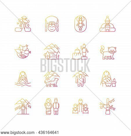 Nepal Cultural Heritage Gradient Linear Vector Icons Set. Religious Festivals. Tourist Attractions.