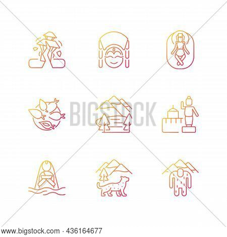 Culture Of Nepal Gradient Linear Vector Icons Set. Trekking Destination. Earthquake. Religious Sites