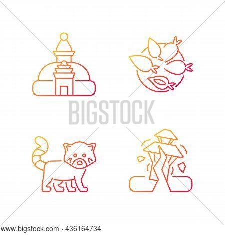 Tourism In Nepal Gradient Linear Vector Icons Set. Swayambhu Stupa. Nepalese Cuisine. Red Panda. Yom