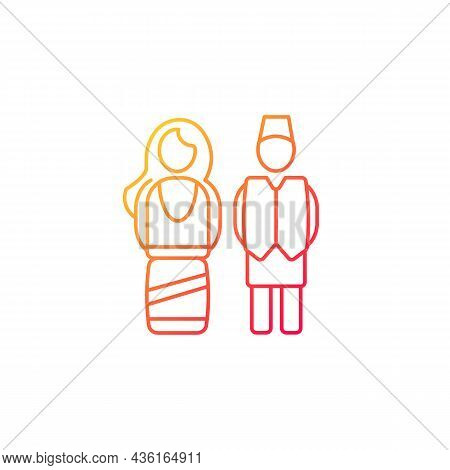 Nepal Traditional Costume Gradient Linear Vector Icon. Festive Outfit For Religious Occasions. Natio