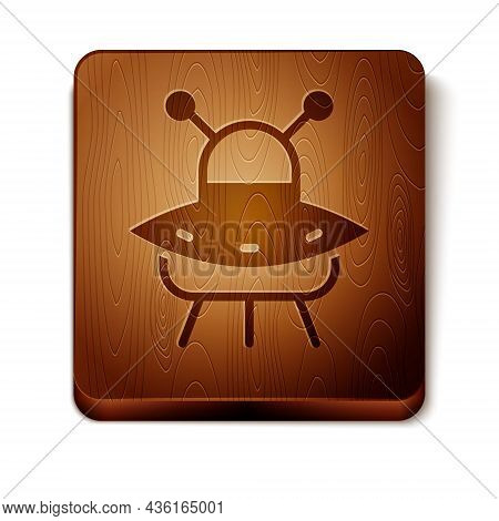 Brown Ufo Flying Spaceship Icon Isolated On White Background. Flying Saucer. Alien Space Ship. Futur