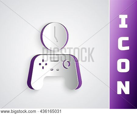 Paper Cut Gamepad Of Time Icon Isolated On Grey Background. Time To Play Games. Game Controller. Pap