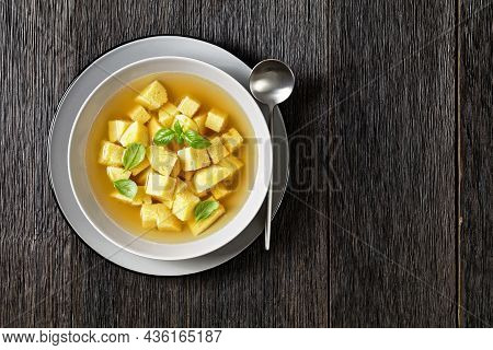 Zuppa Royale Alla Bolognese Con Brodo, Italian Soup Of Chicken Broth With Parmesan Egg Dumplings Spr
