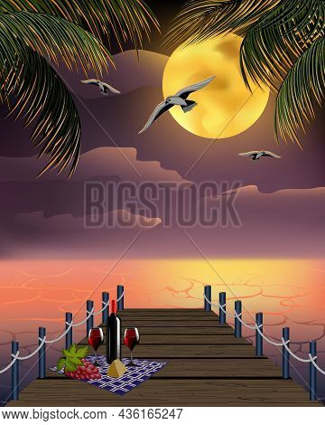 Illustration With The Sea Coast On The Background Of The Sunset.romantic Dinner By The Sea On The Ba