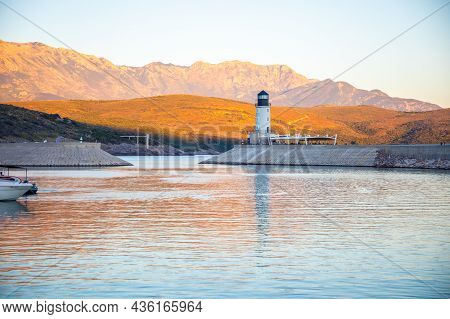 Lustica Bay, Montenegro - October 1, 2021: Lighthouse With Restaurant At Lustica Bay In Montenegro A