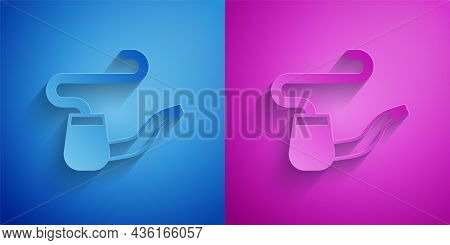Paper Cut Smoking Pipe With Smoke Icon Isolated On Blue And Purple Background. Tobacco Pipe. Paper A