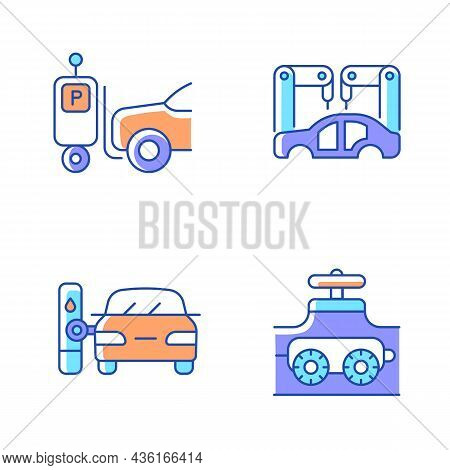 Automation In Automobile Industry Rgb Color Icons Set. Self-driving Forklift. Assembling Car Body. F
