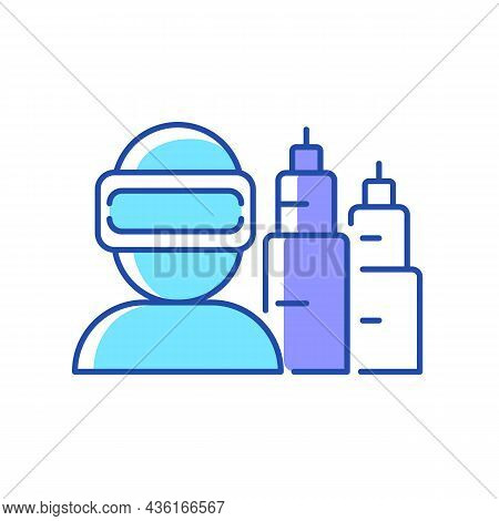 Vr For Project Planning Rgb Color Icon. Virtual Reality Simulation. Computer Technology. Project Man