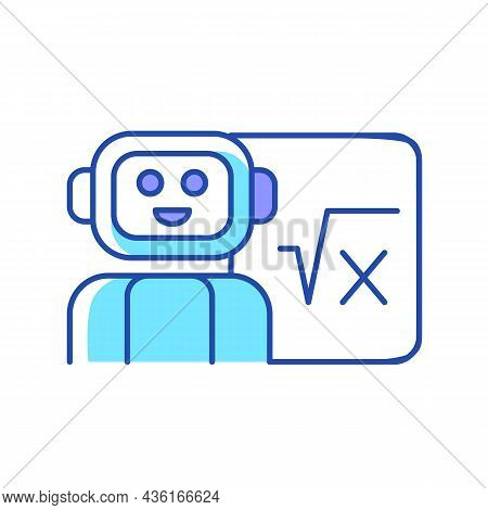 Robotics In Education Rgb Color Icon. Robot Teacher. Implementing Artificial Intelligence In Classro