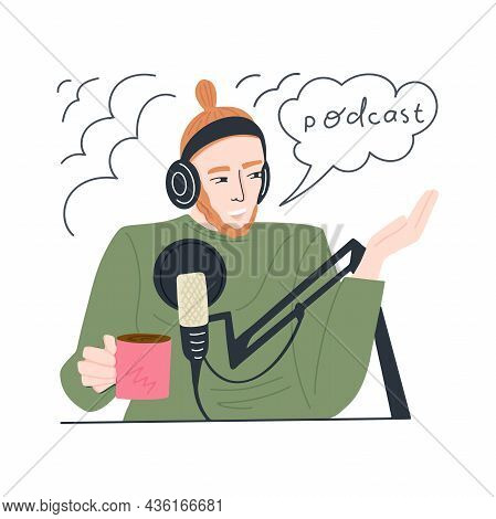 Young Man Is Recording A Podcast And Drinking Coffee. A Guy With Headphones And A Microphone Reads A