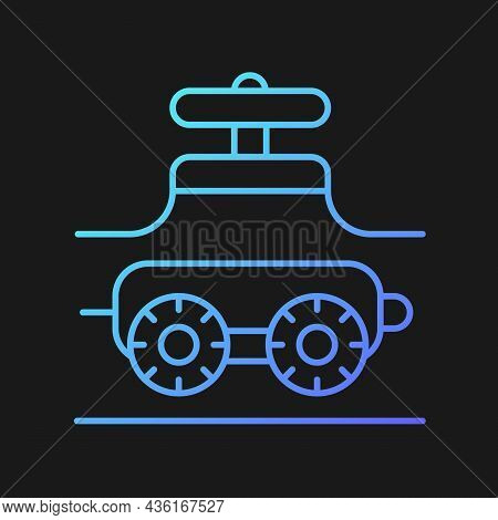 Pipe-inspecting Robots Gradient Vector Icon For Dark Theme. Robotic Crawler. Automatic Pipeline Insp