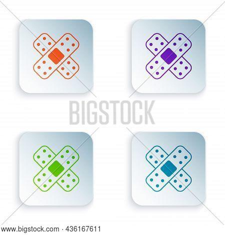 Color Crossed Bandage Plaster Icon Isolated On White Background. Medical Plaster, Adhesive Bandage,