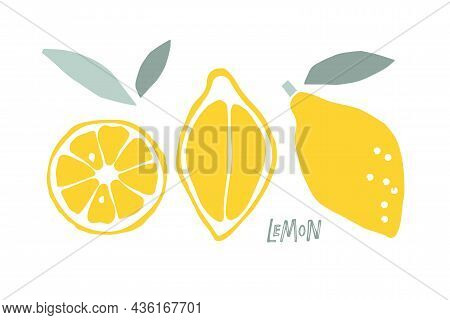 Abstract Lemon Fruit, Childish Hand Drawn Doodle Sketch Isolated On White Background. Flat Vector Il