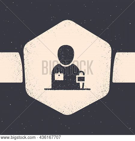 Grunge Journalist News Reporter With Microphone Icon Isolated On Grey Background. Monochrome Vintage