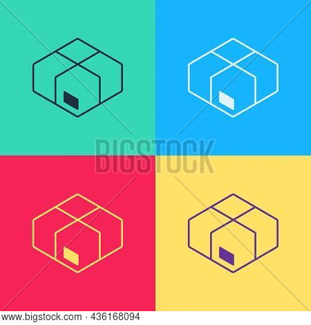 Pop Art Carton Cardboard Box Icon Isolated On Color Background. Box, Package, Parcel Sign. Delivery