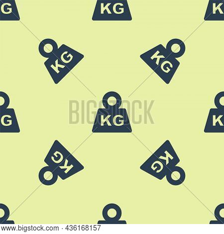 Blue Weight Icon Isolated Seamless Pattern On Yellow Background. Kilogram Weight Block For Weight Li