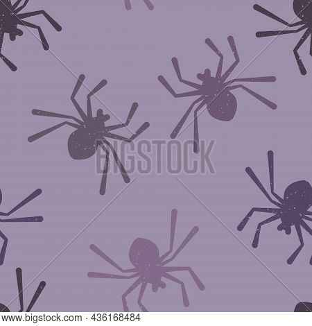 Vector Monochromatic Spiders In Purple Seamless Pattern Background. Perfect For Fabric, Scrapbooking