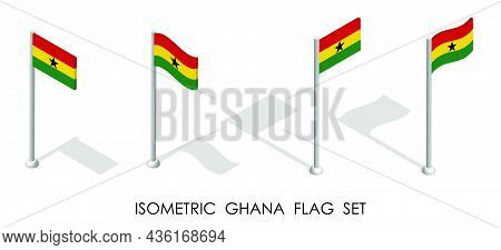 Isometric Flag Of Ghana In Static Position And In Motion On Flagpole. 3d Vector