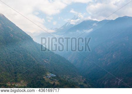 Asian Mountain Village And Terrace Fields In Autumn, Nepal, Himalaya, Annapurna Conservation Area