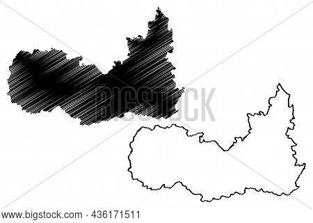 Kulgam District (jammu And Kashmir Union Territory, Republic Of India) Map Vector Illustration, Scri