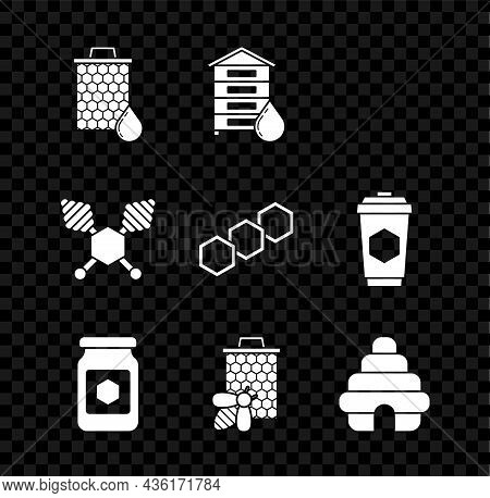 Set Honeycomb, Hive For Bees, Jar Of Honey, Bee And Honeycomb, Dipper Stick And Icon. Vector