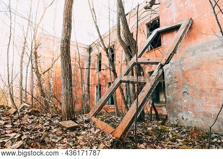 Abandoned Ruined Old Village School Building In Chernobyl Resettlement Zone. Belarus. Chornobyl Cata