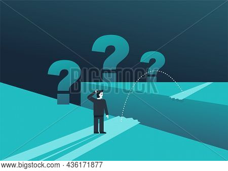 Confused Businessman Standing Near Obstacle Abyss With Big Question Marks. Business Strategy - Risks
