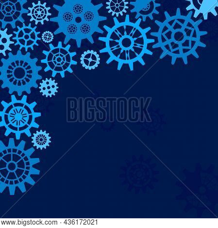 Abstract Technology Background With Cogwheel, Engineering Cover Template In Blue. Suitable For Websi